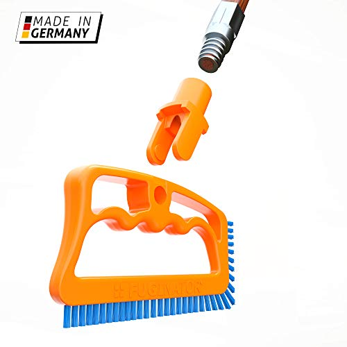 (Fuginator Scrub Brush for Tile & Grout: Stiff Nylon Bristle Scrubbing Brush & Handle Connector - Bathtub / Shower Scrubber for Floor Joints & Seams - Cleaning Brushes & Supplies for Bathroom & Kitchen)