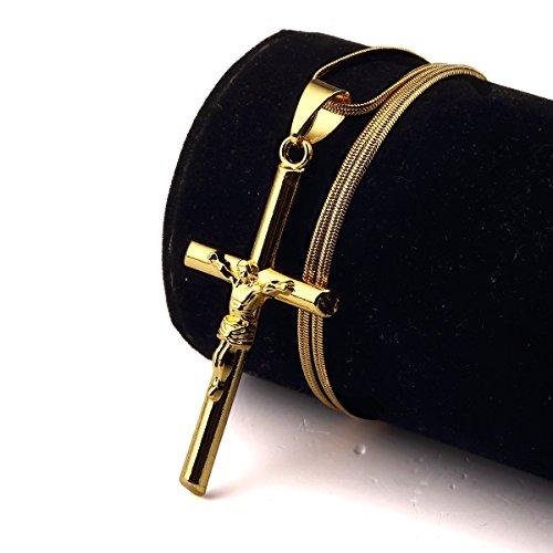NYUK Hip Hop Style Jesus Mens Crucifix Short Gold Pendant Necklace(Cross (Best Cross Dressing Costumes)