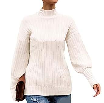 Women Mock Turtleneck Knit Long Lantern Sleeve Solid Color Sweater Pullover Tops 1 XS