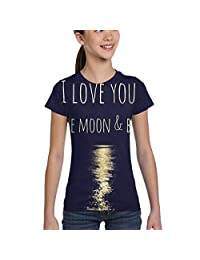 Girls' Short Sleeve I Love You to The Moon&Back Shirts, Casual Blouse Clothes, XS-XL