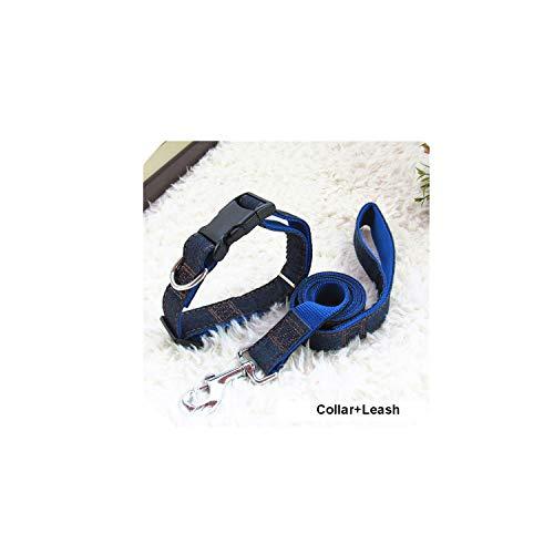 - 120cm Long Fashion Denim & Nylon Rope Dog Leash Black/Red/Blue Jean Puppy Dog Collar/Harness+Leash Sets Pet Products,Blue Collar Leash,NO 4