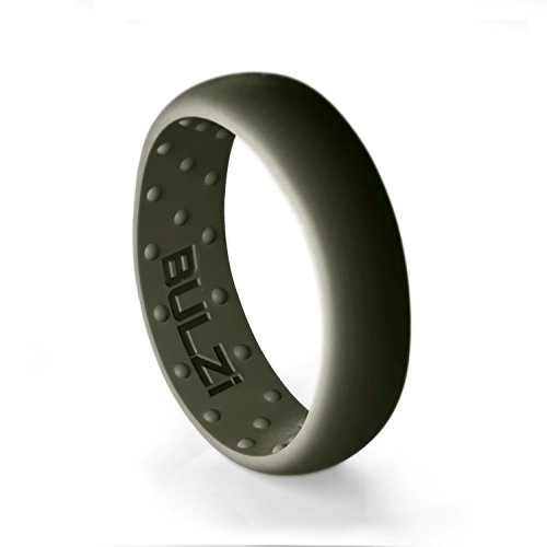BULZi - Massaging Comfort Fit Silicone Wedding Ring - #1 Most Comfortable Men's Women's Wedding Band - Comfort Flexible Work Safety Design (Sage 6mm, Size 7 - (6mm Width Band)) ()