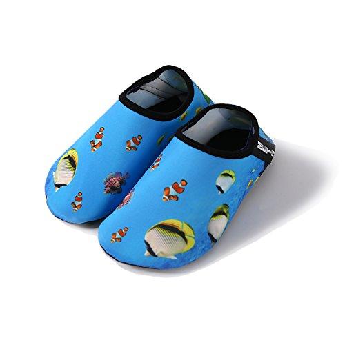 Water Shoes Kids Men Women Barefoot Quick Dry Aqua Shoes for Swim Walking Yoga Lake Beach Boating – (Kid Creature Socks)