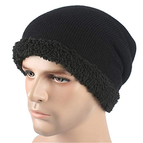 YOU ZIHUA Men Knitted Beanie Hat Slouchy Sport Hip Hop Cap Autumn Ski Skull Caps Black