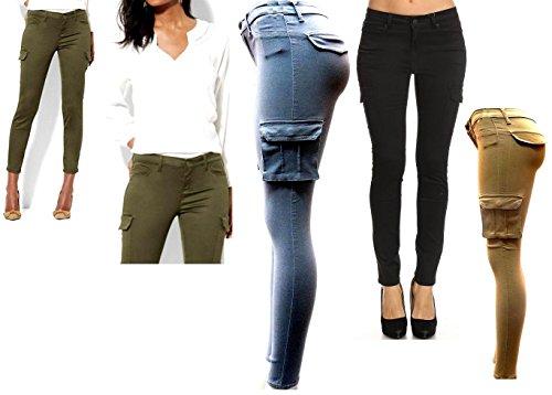 Oluolinex Jack David Wax Jean Ladies Womens Stretch Solid Casual Skinny Utility Cargo Pants G11