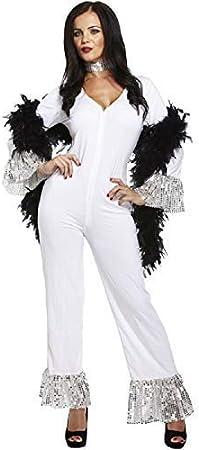 Adulto Mujer 1970s AÑOS 70 Dancing Queen Blanco ABBA Mono ...