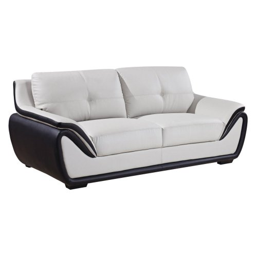 Global Furniture Bonded Leather Matching Sofa, Grey/Black