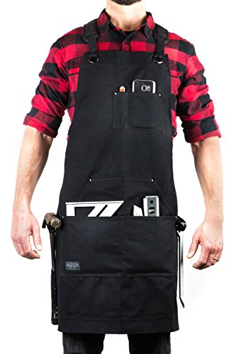 Deluxe Leather Tool - Hudson Durable Goods - Deluxe Edition - Waxed Canvas Tool Apron - Upgraded with Padded Straps, Quick Release Buckle & Dual Hammer Loops, Adjustable M to XXL