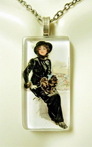 (American beauty with Pomeranian glass pendant - DGP02-408 - Harrison Fisher)