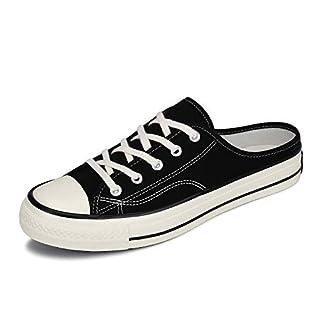 Mishansha Mens Womens Slip On Canvas Shoes Low Top Sneakers Mule Flats Casual Walking Footwear Black
