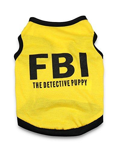 DroolingDog Dog Halloween Shirt Dog FBI Costume Pet Police Clothes T Shirts for Small Dogs, Large, (Dog Detective Costume)
