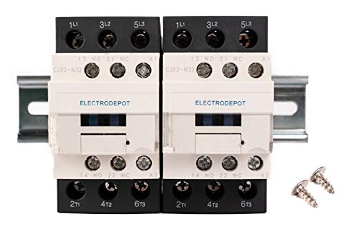Electrodepot 30 Amp 6 Pole (3 Pole x 2) Normally Open | Auxiliary 1NO/1NC | 110/120VAC Coil | Motor Load 32A, Lighting Load 50A | Contactors Bundle with DIN Rail, 35 x 200 mm and 2#10 Screws ()