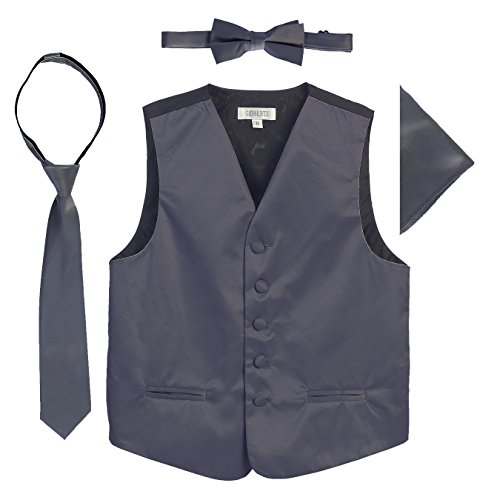 Gioberti Boys 4pc Satin Formal Vest Set, Charcoal, 2-3