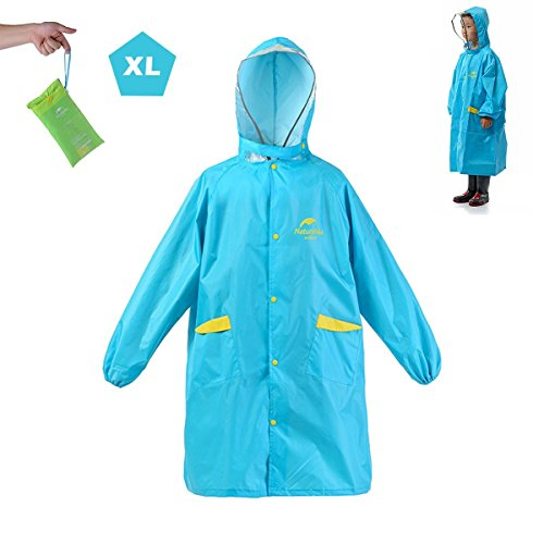 Azarxis Children's Rain Poncho Raincoat Cover Long Rainwear Portable With Hoods and Sleeves - Height 3.93ft - 4.92ft For Outdoor Activities (Sky Blue - XL) (Rainwear Poncho)