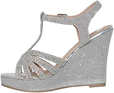 MVE Shoes Women's High Heel Wedges Sandals Cute Crystal