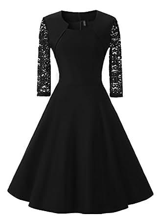SYLVIEY Womens Vintage 1950s Elegant Polka Dot Bow-Knot Cocktail Party Dress (S, 600-Black)