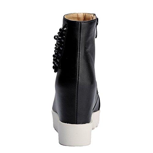 Allhqfashion Mujeres Soft Material Cremallera Redondo Con Punta Cerrada High-heels Low-top Botas Negro