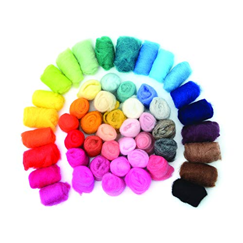 Felted Wool - Unspun Needle Felt Roving & Felting Yarn Craft Supplies (50 Pieces) Multi Colored (Green, Red, Black, Blue, Pink, Yellow, White & More) Soft Raw Fiber for Fabric, ()