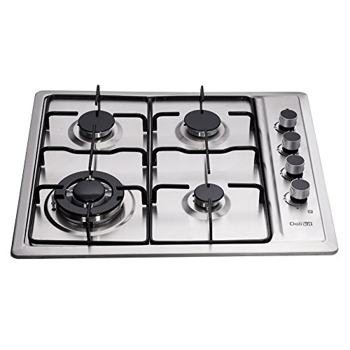 Deli-Kit DK245-B01T 24 inch gas cooktop gas hob 4 Burners LPG/NG Dual Fuel 4 Sealed Burners brass burner Stainless Steel Right Knobs gas hob 4 Burners Built-In gas hob 110V (Best Gas Hobs)