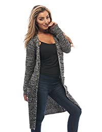 Hollywood Star Fashion Waffle Knit Long Cardigan Sweater With Pockets