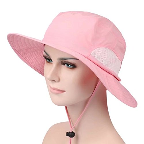 meanhoo Unisex Outdoor Quick-dry UPF50+ Fishing Hat Big Brimmed Boonie Cap Cowboy Bucket Hat with Chin Cord for Fishing Hunting Camping Swimming Hiking (Pink)