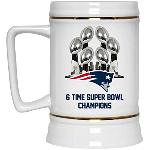 - New England Patriots Beer Mug Patriots Beer Stein 53 LIII 6 Time Super Bowl Champions New England Patriots 22 oz White Ceramic Beer Cup NFL AFC Football Perfect Unique Gift for any Patriots Fan