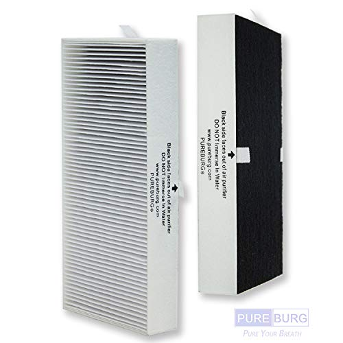 PUREBURG 2-Pack Replacement HEPA Air Filters and 2 Carbon Pre-Filters for Honeywell HEPAClean Tabletop Air Purifiers HHT270 HHT270W HHT290 Series Part HRF201B Type U