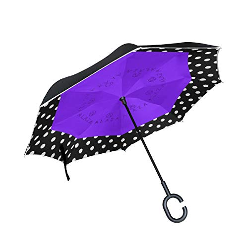 Double Layer Inverted Umbrellas Reverse Folding Umbrella Blue Polka Dots Windproof for Car Rain Outdoor with C-Shaped Handle