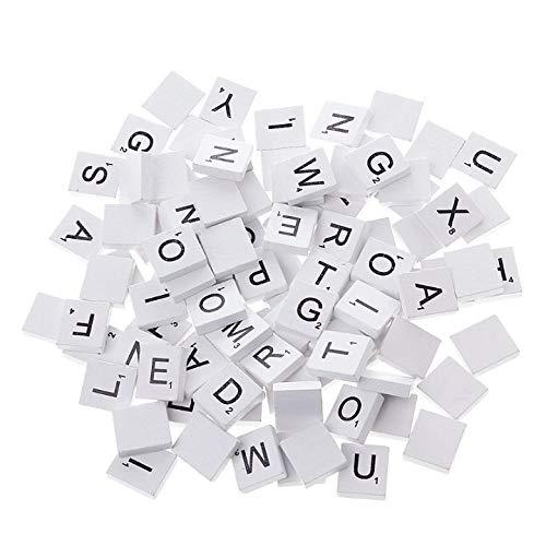 Letter Poster - 100pcs Wooden Colourful Scrabble Tiles Mix Letters Varnished Alphabet Scrabbles - Vowels Home Pink Ivory Unfinished Drilled Decor Plain Letters Black Wooden Love Individual Sta