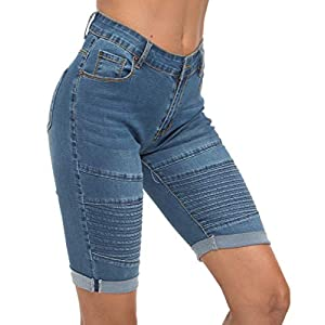 OLRAIN Womens High Waist Ripped Hole Washed Distressed Short Jeans 28