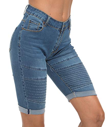 OLRAIN Womens High Waist Ripped Hole Washed Distressed Short Jeans 16 Blue4