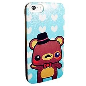 YULIN Flash Powder TPU Cartoon Bear Pattern Soft Back Case for iPhone 5/5S