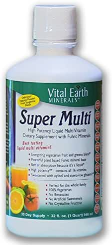 Vital Earth Minerals Super Multi Liquid Vitamins 32 Fl. Oz. - 1 Month Supply- High Potency - Iron Free - Sugar Free - Vegetarian - Liquid Multi Vitamin Supplement with Ionic Fulvic Minerals