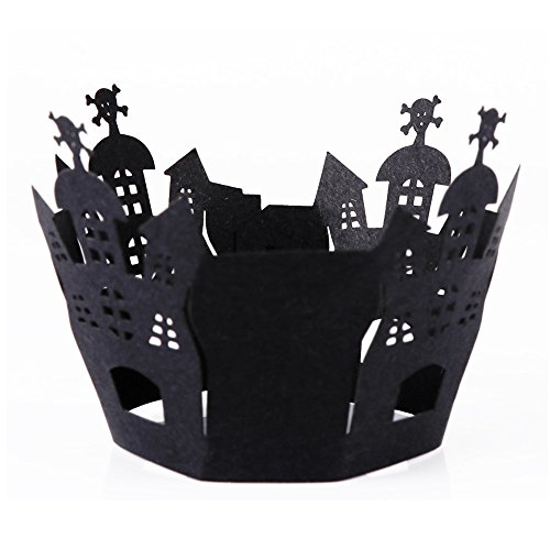 BranXin(TM) Halloween Decorations 12pcs Cupcake Wrappers Wraps Case Hollow Cut Cake Decorating Supplies Halloween Party Accessories[ Castle (Fun Halloween Cupcakes Decorations)