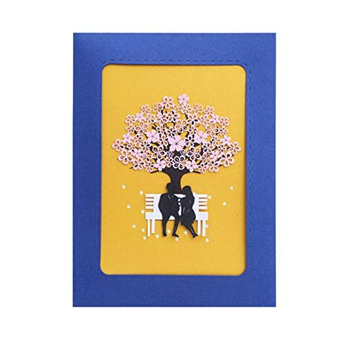 BlueDragon10 Romantic Card 3D Cards Romantic Cherry Blossoms Valentine's Day Greeting Card Postcard Birthday Gift Wedding Invitations Greeting ()
