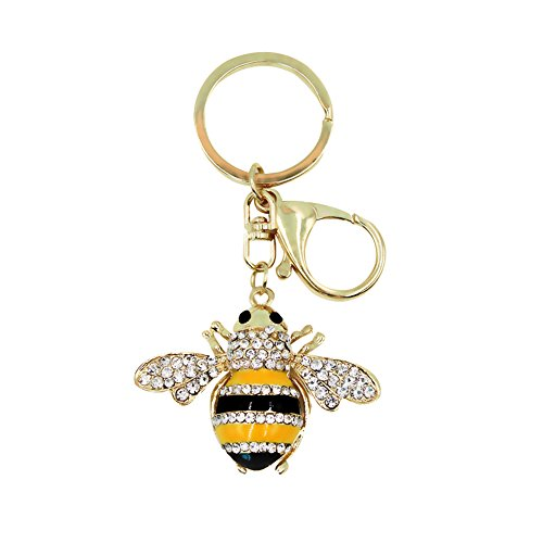 Ring Bee Crystal (Bling Gold Bee Crystal Animal Car Keychain Bag Decoration Key Ring Pendant Ornament Small Gift)