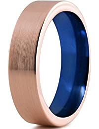 Tungsten Wedding Band Ring 6mm for Men Women Blue 18k Rose Gold Flat Pipe Cut Brushed Polished