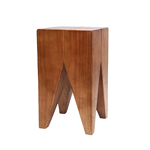 Natural Wooden End Table,Solid Wood Side Table Square Stool-C 26x45cm(10x18inch) (Square Nesting Iron Tables)