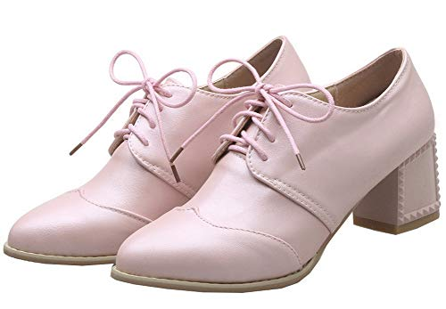 TSDDH004325 Pu Kitten Pointed Lace Pink Women's Closed Shoes Solid Heels Toe Pumps AalarDom Up qZ7ASxpw