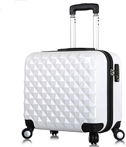 TONGSH 17 Women Luggage Carry On Suitcase Small Trolley Case 17 Inch Mini Luggage Universal Wheel Boarding Female Business Suitcase Color White