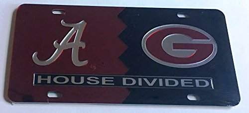 Alabama Crimson Tide - UGA Georgia Bulldogs - House Divided Mirrored Car Tag License Plate