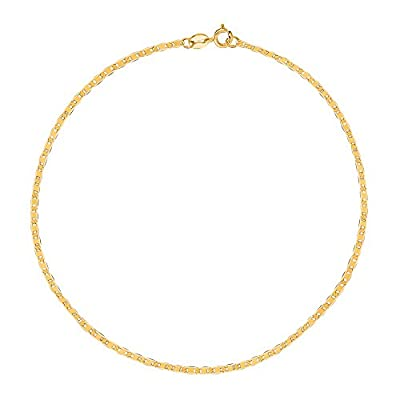 10K Yellow Gold Mariner Link Anklet 10 Inches