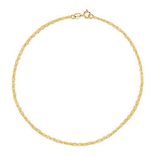 - Ritastephens 10K Yellow Gold Mariner Link Anklet 10 Inches