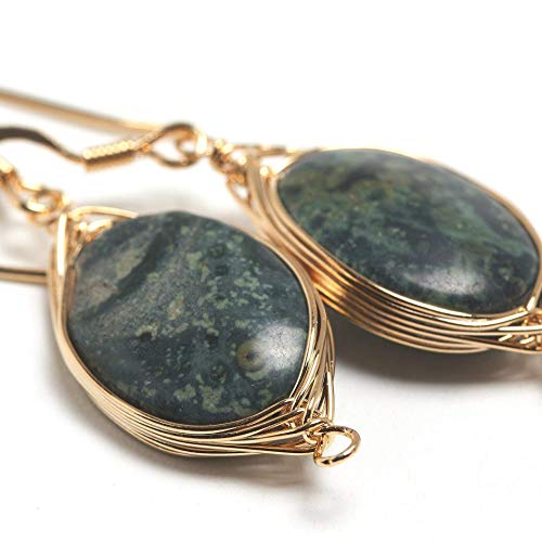 Natural Stone Wire Wrap Dangle Drop Earrings Gold Plated 925 Sterling Silver Hook/Kambaba Jasper