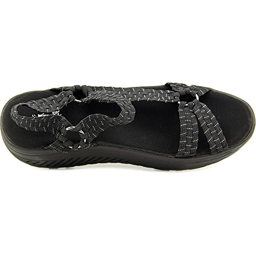 Corkys Quickstep Women Open-Toe Canvas Black Sport Sandal Black qJA0gyi