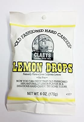 Claeys Fat Free Old Fashioned Hard Candies, 6 oz (Pack of 2) (Lemon Drops)