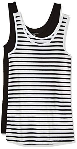 (Amazon Essentials Women's 2-Pack Tank, White Stripe/Black,)