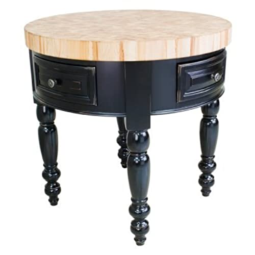 round kitchen island with 2 drawers in black finish - Round Kitchen Island