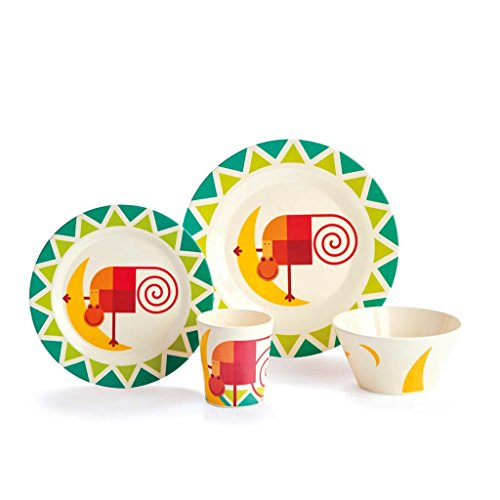 Dylan Kendall Home 4-Piece Kids Bamboo Eco Dish Set, Monkey