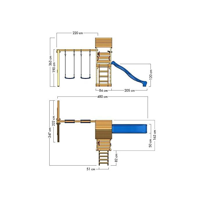 41m9fBQPDPL WICKEY Torre de escalada incluyendo conjunto completo de accesorios con columpio, tobogán y cajón de arena Poste 9x4,5 - Poste de columpio 9x9cm - Madera maciza impregnada a presión - Cajón de arena - Muro para trepar Calidad y seguridad aprobada - Instrucciones de montaje detalladas - Varias opciones de montaje - Made in Germany